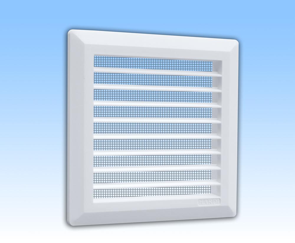 Grila ventilatie 14x14 alba plata, dreapta, rama, plasa