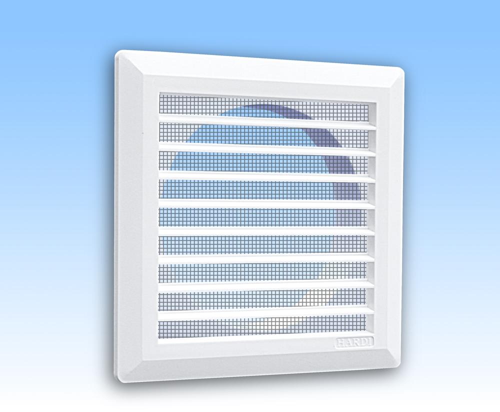 Grila ventilatie 14x14 alba dreapta cu rama, plasa, tub 125