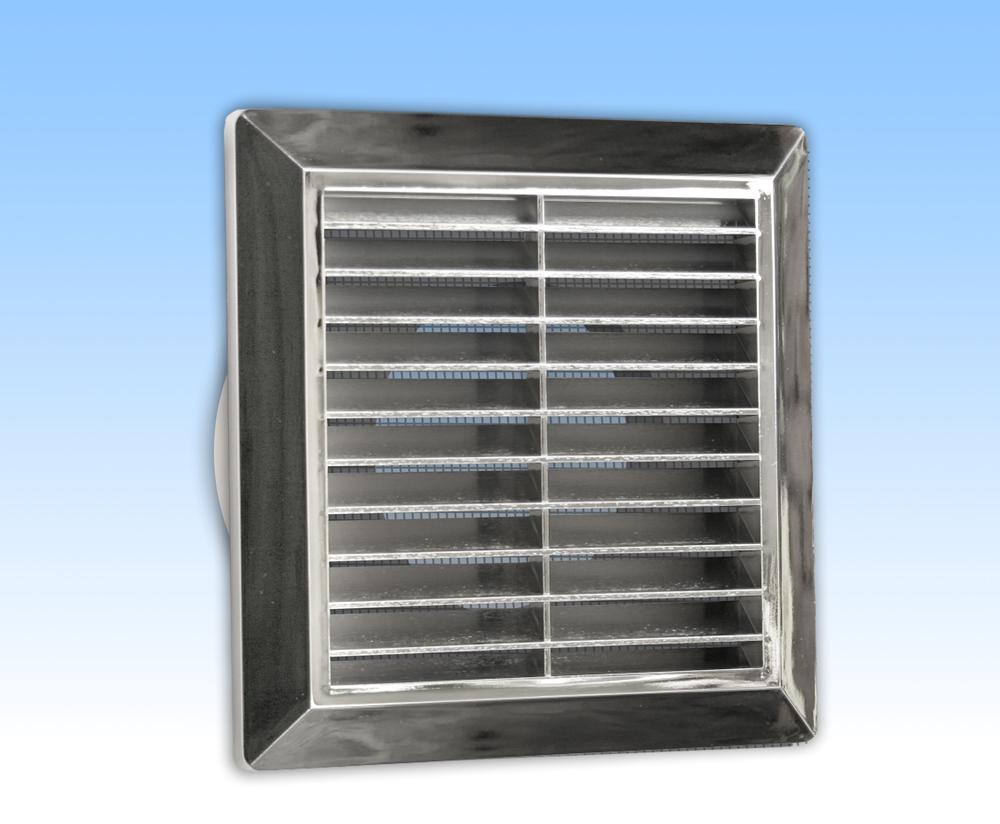 Grila ventilatie 14X14 argintie cu rama, plasa, tub 100