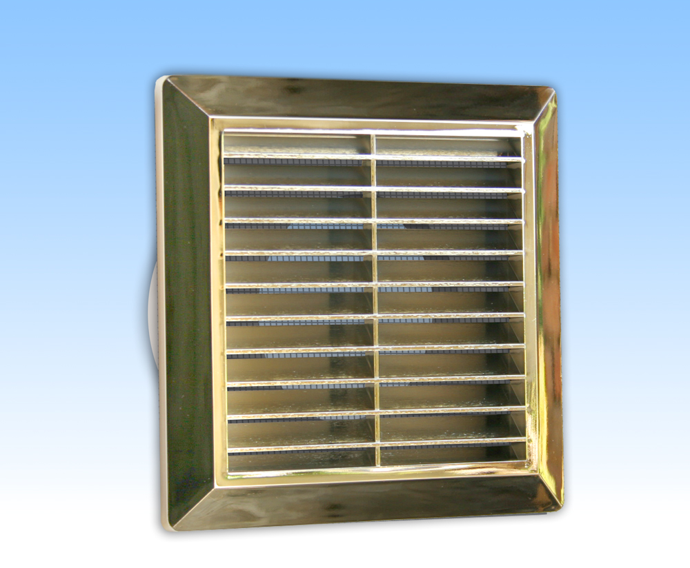 Grila ventilatie 14X14 aurie cu rama, plasa, tub 100