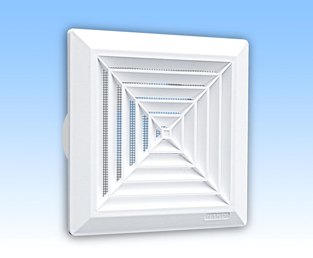 Grila ventilatie 14x14 de plafon alba,rama, plasa, tub 100
