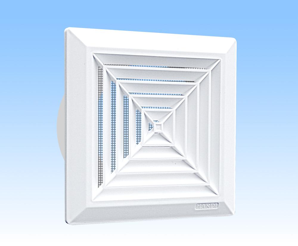 Grila ventilatie 14x14 de plafon alba,rama, plasa, tub 125