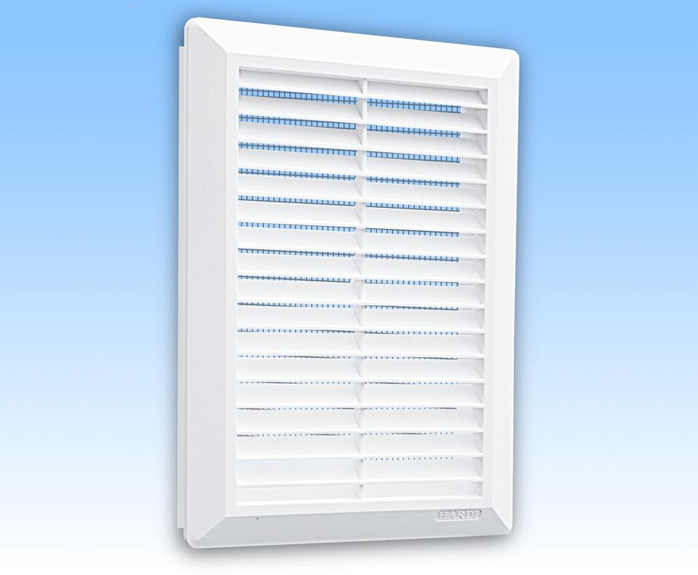 Grila ventilatie 14x21 alba, rama, jaluzea int, plasa