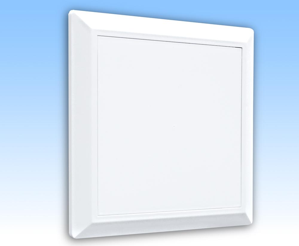 Grila ventilatie 14x14 alba cu rama,usa,plasa