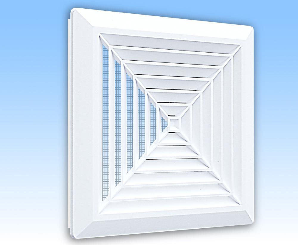 Grila ventilatie 20X20 de plafon alba cu rama, plasa