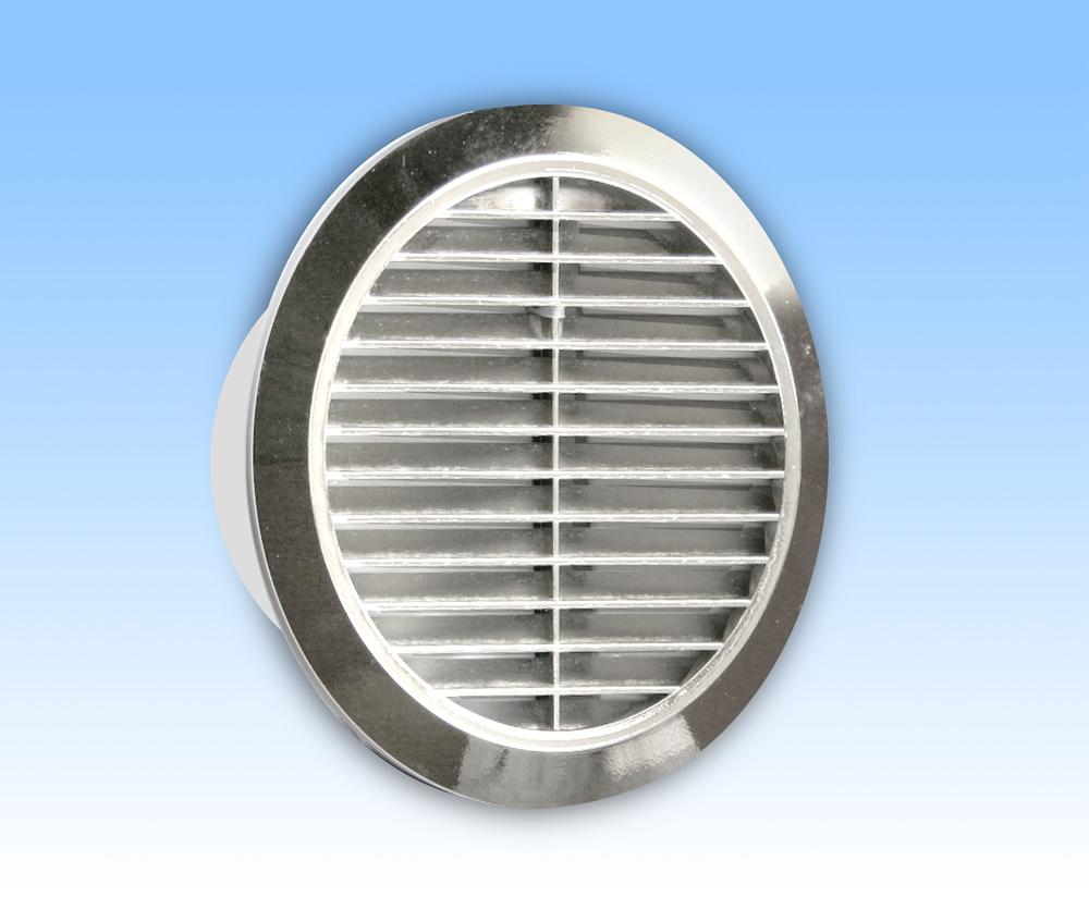 Grila ventilatie rotunda argintie rama plasa tub 100