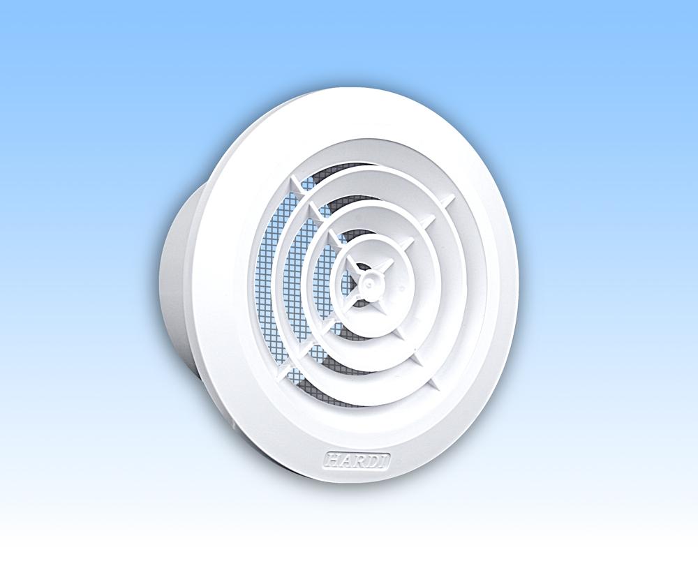 Grila ventilatie rotunda plafon alba rama plasa tub 80
