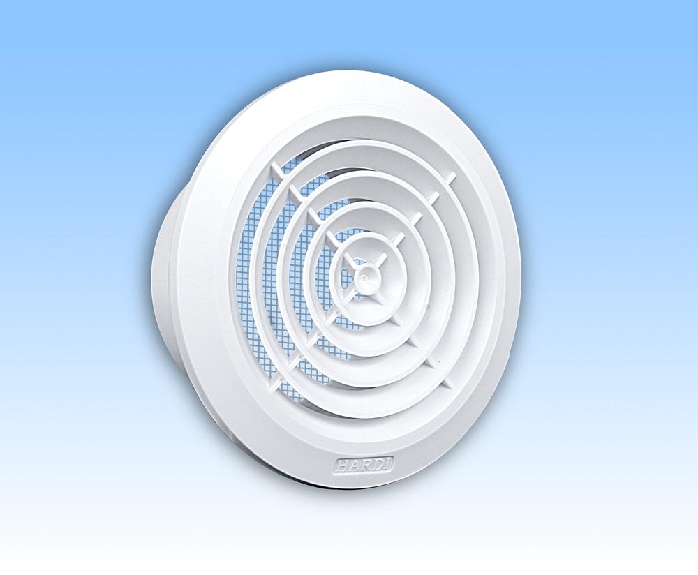 Grila ventilatie rotunda plafon alba rama plasa tub 150