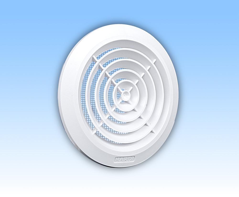 Grila ventilatie rotunda plafon alba plata rama plasa tub 100