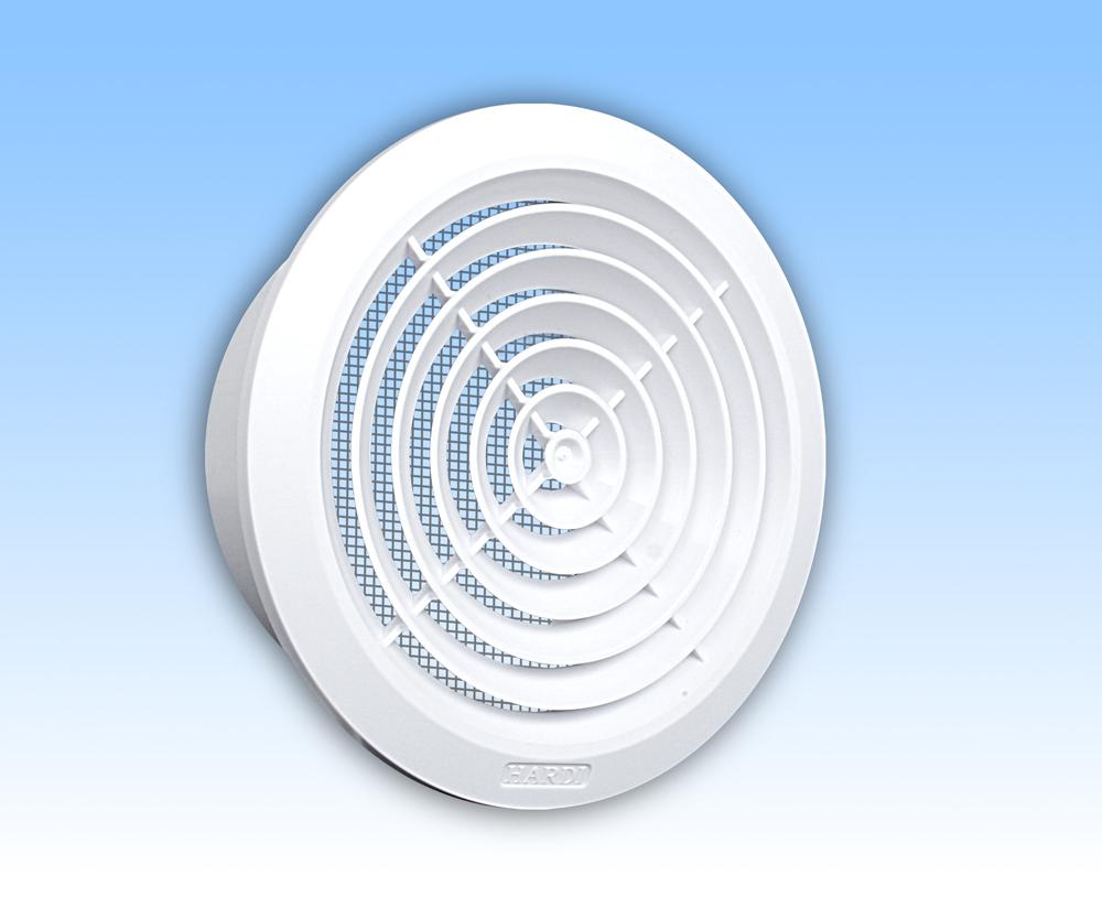Grila ventilatie rotunda plafon alba rama plasa tub 100