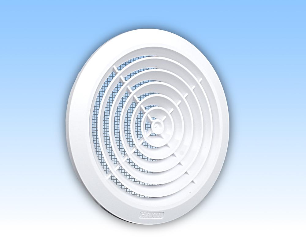 Grila ventilatie rotunda plafon alba plata rama plasa tub 125