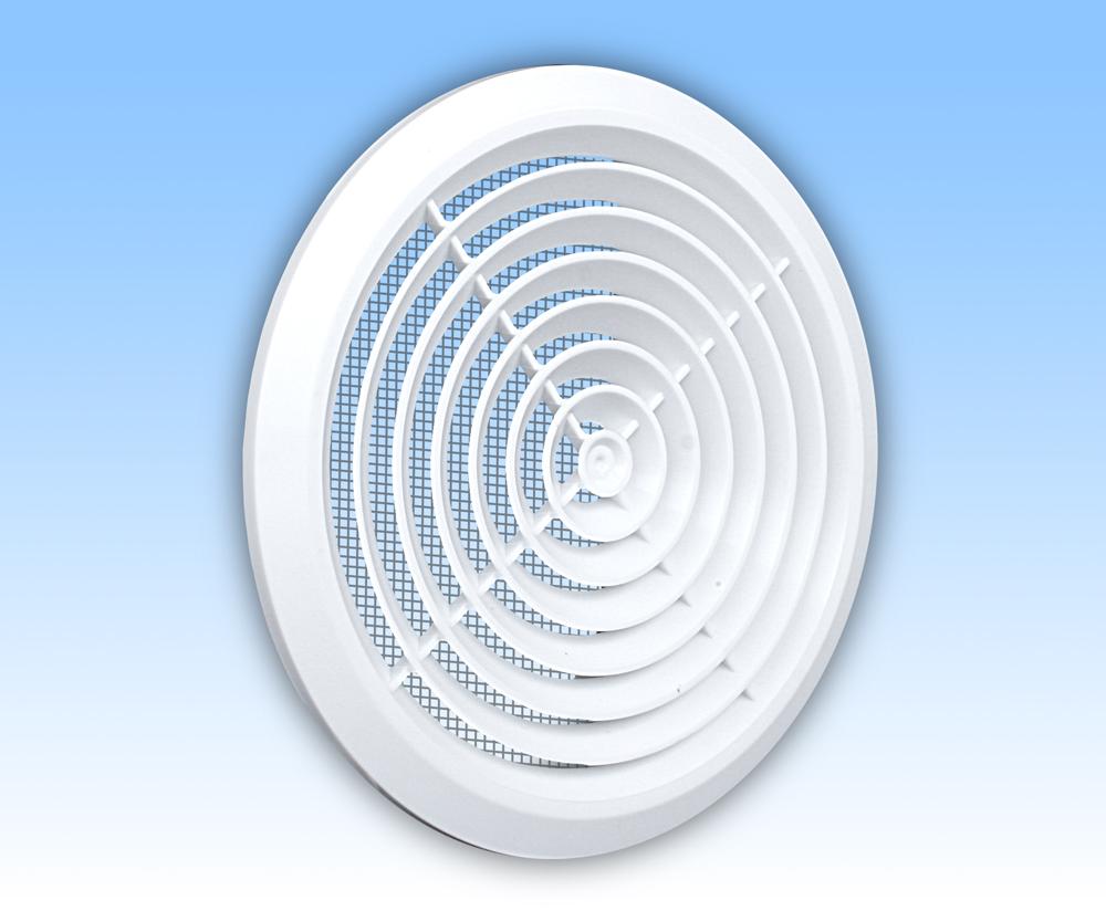Grila ventilatie rotunda plafon alba plata rama plasa tub 150