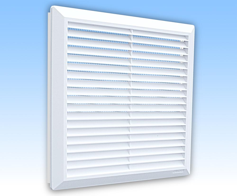 Grila ventilatie 28x28 alba rama plasa tub 200