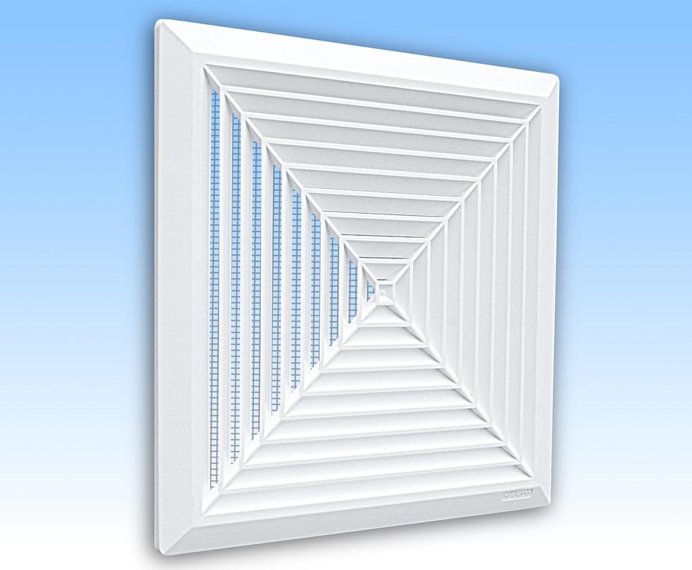 Grila ventilatie 28x28 plafon alba rama plasa