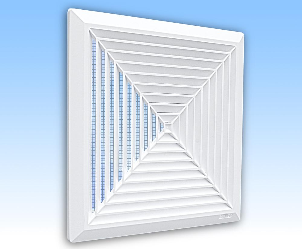 Grila ventilatie 28x28 plafon alba rama plasa tub 200