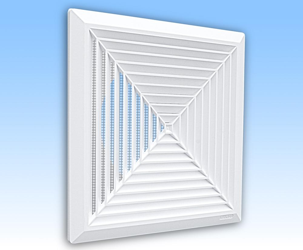 Grila ventilatie 28x28 plafon alba rama plasa tub 250
